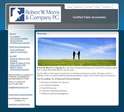 Robert Morris, CPA web design - Pennsylvania