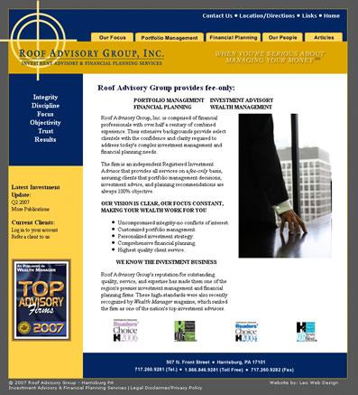 Financial Advisor web design - Harrisburg, PA